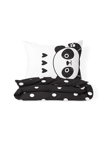 Helen George Panda Tek Kişilik Nevresim Takımı Siyah